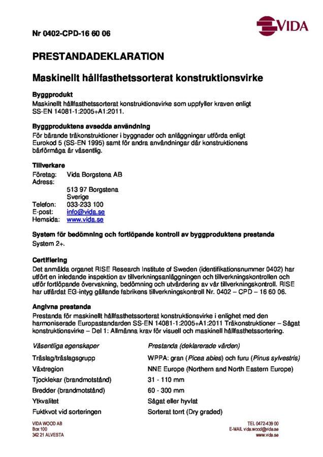 Prestandadeklaration - Vida Borgstena