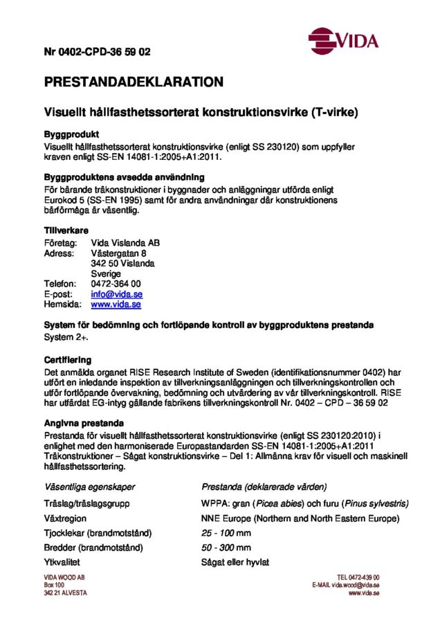 Prestandadeklaration - Vida Vislanda T-virke