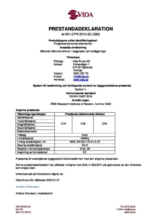 test1Prestandadeklaration Bruza - 001-CPR-2015-SC-0305