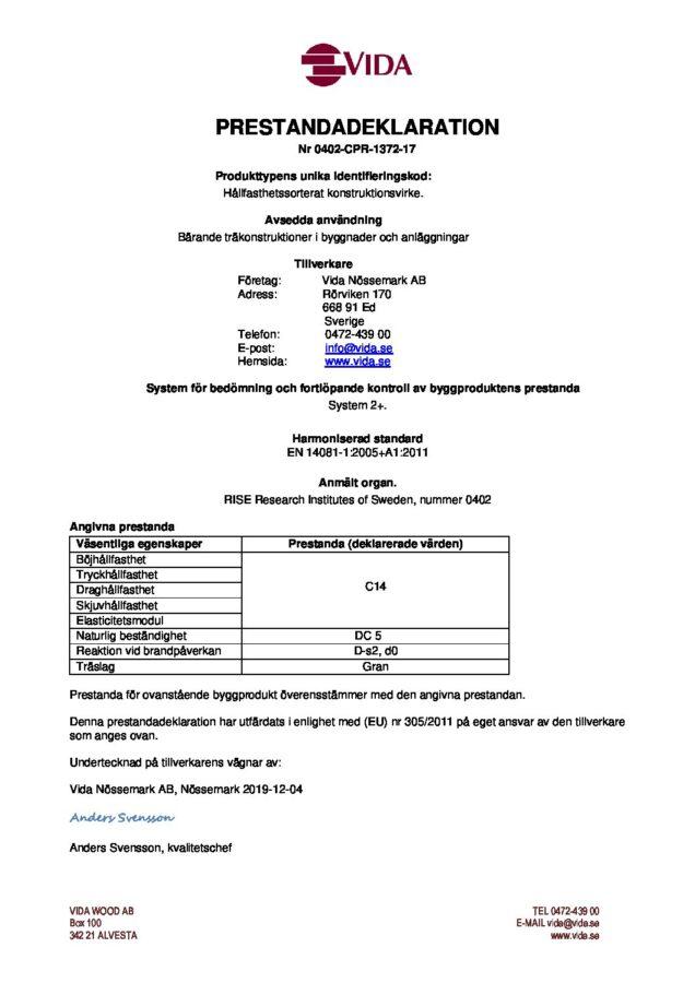 test1Prestandadeklaration Nössemark - 0402-CPR-1372-17