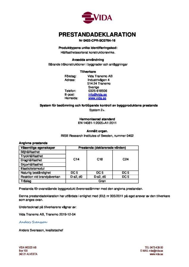 test1Prestandadeklaration Tranemo - 0402-CPR-SC0764-16