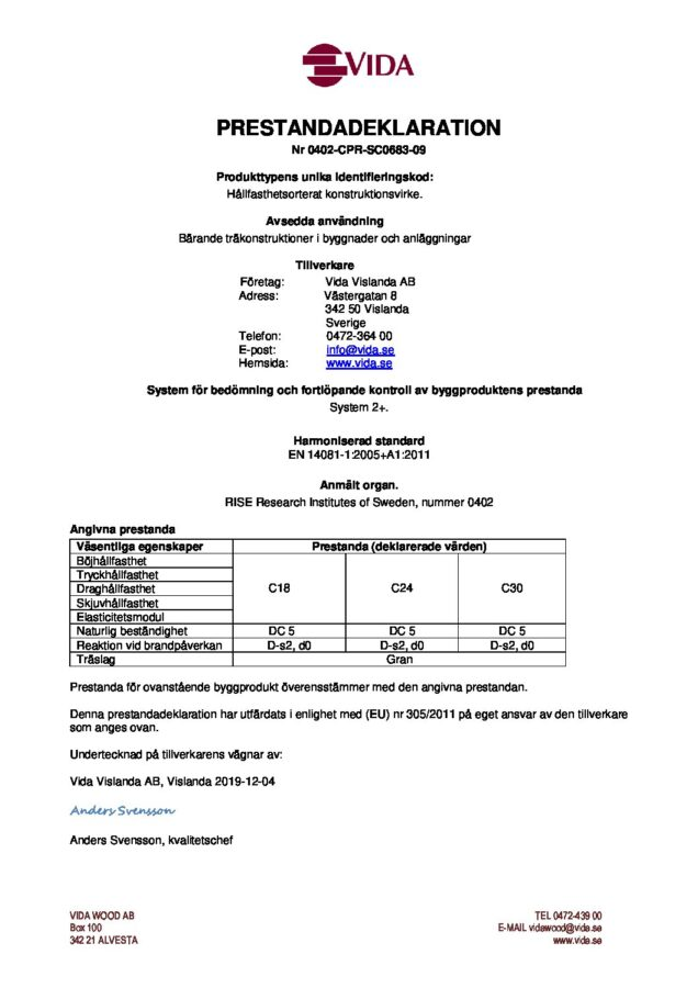 test1Prestandadeklaration Vislanda - 0402-CPR-SC0683-09