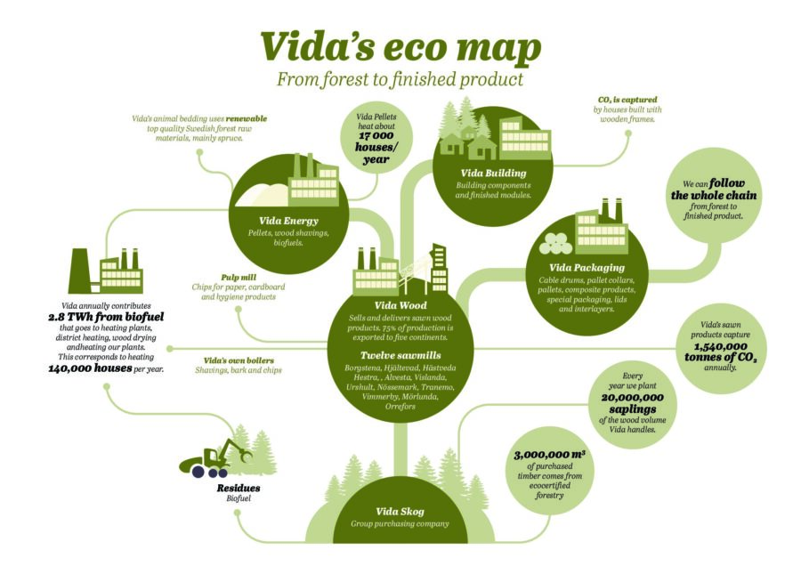 test1Vida's eco map – From forest to finished product